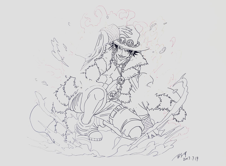马克笔手绘海贼王——艾斯