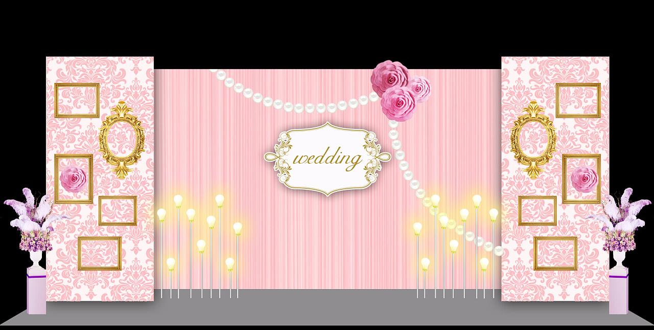 婚礼 合影区背景设计 签到区背景设计 粉色 裸粉色 小清新 温馨 简约图片