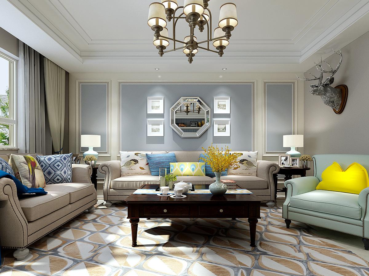 沙发背景墙的实木框架与浅蓝的乳胶漆相互融合图片