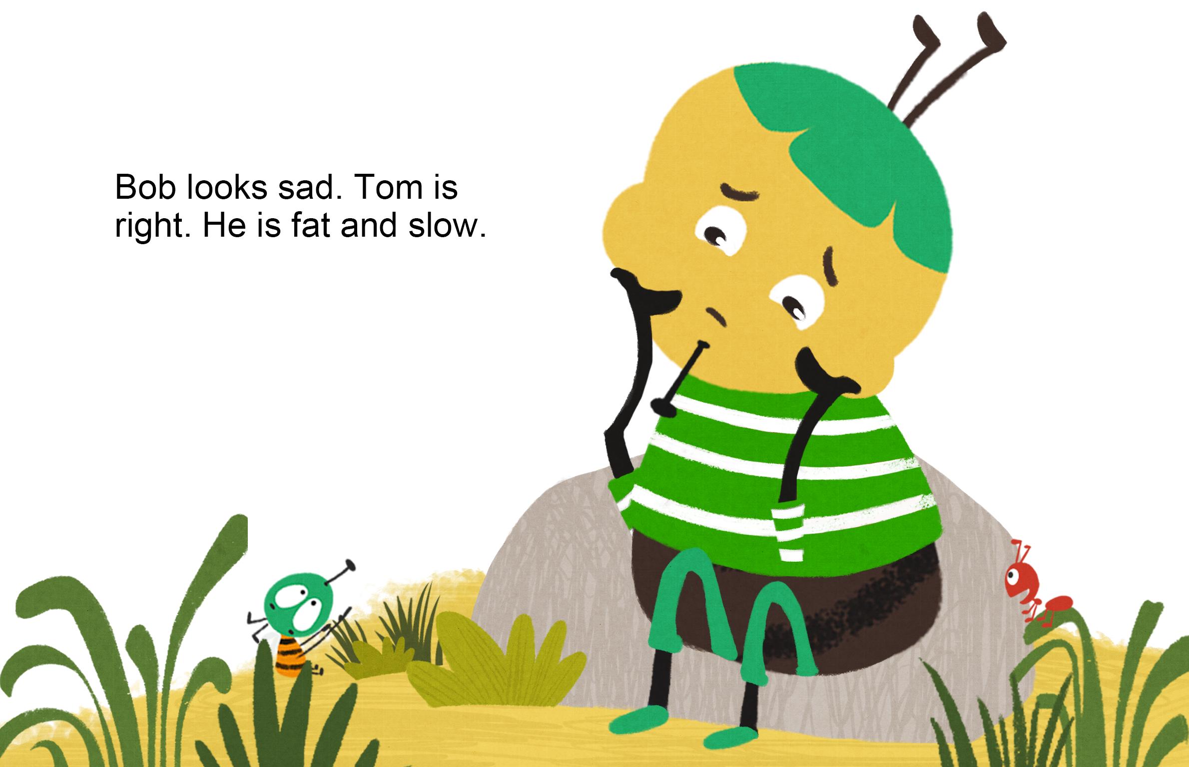 苹果蚂蚁小鸟小熊手绘