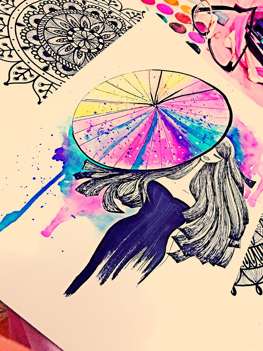 原创插画,插画女,黑白装饰画,手绘线描,水彩