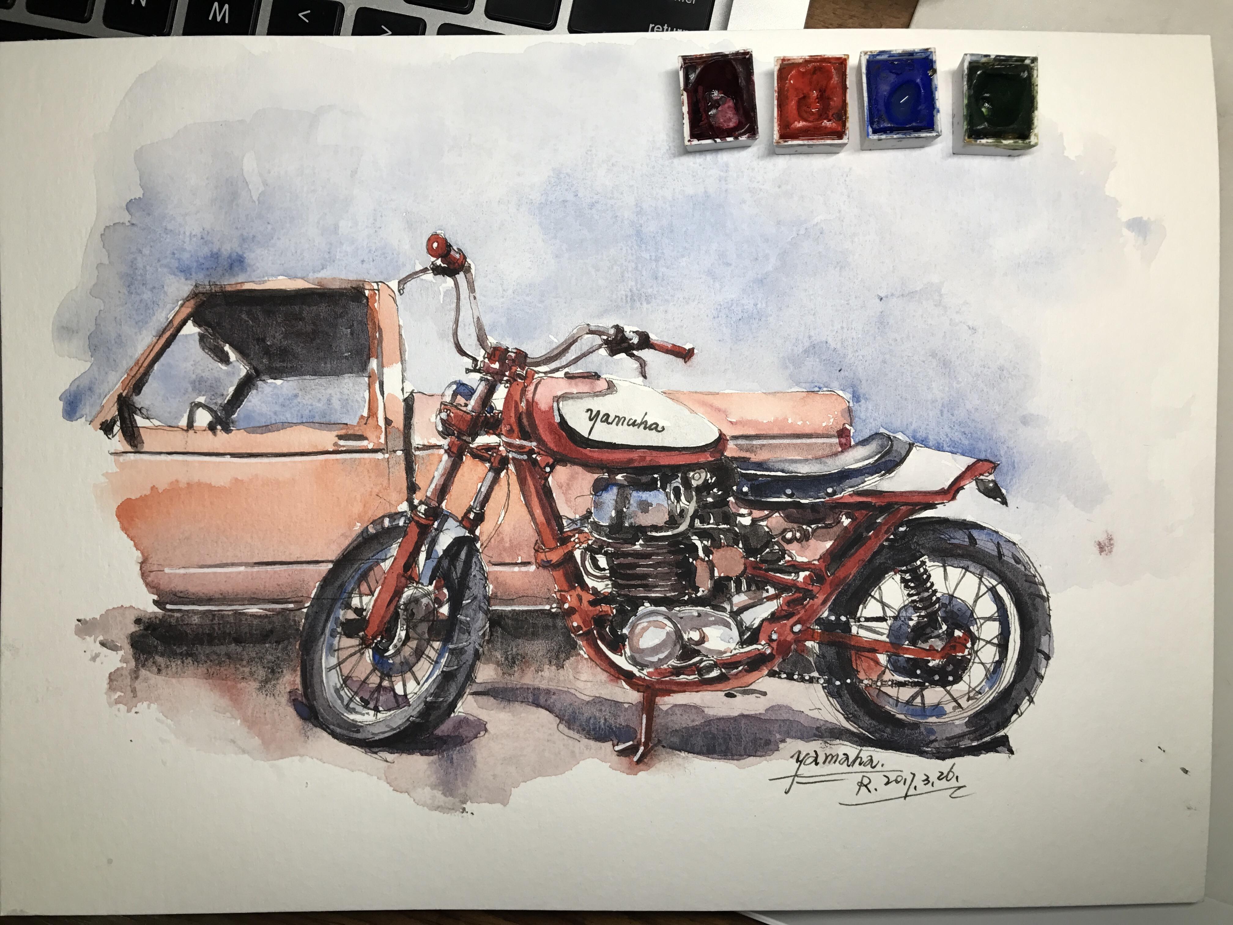 摩托车水彩手绘