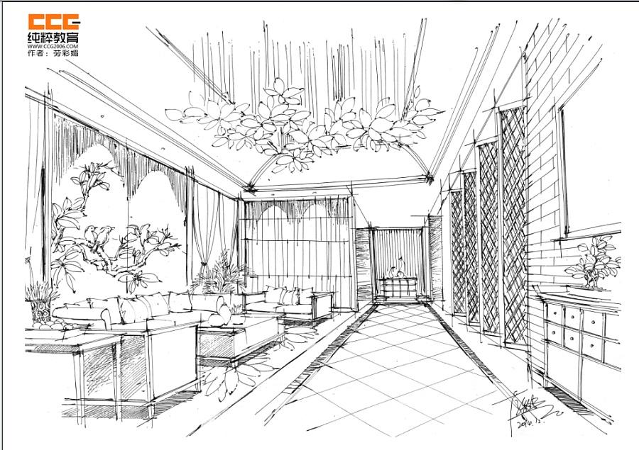 纯粹手绘室内作品|室内设计|空间/建筑|纯粹手绘ccg