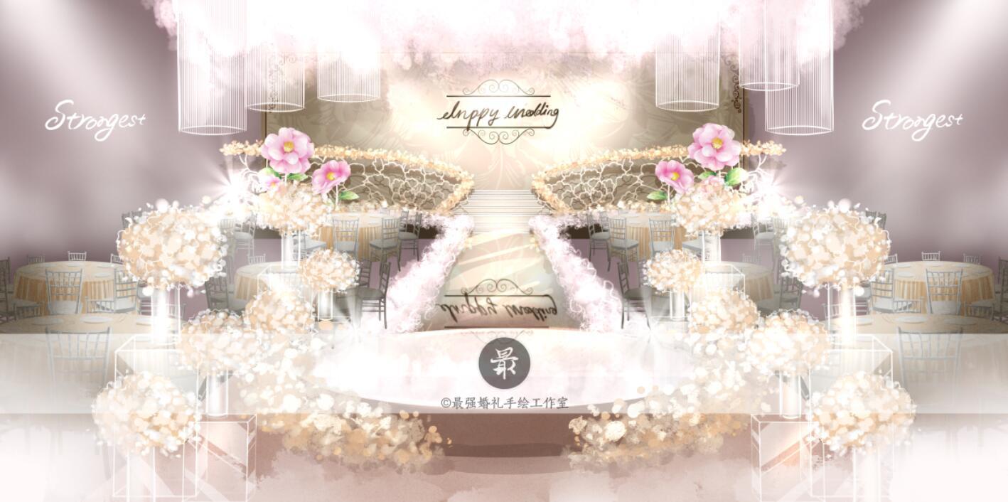 【婚礼手绘】电脑手绘—香槟粉厅内效果图