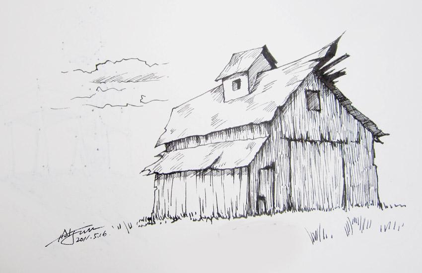 建筑简约速写手绘