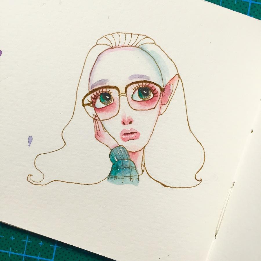 水彩插画人物头像