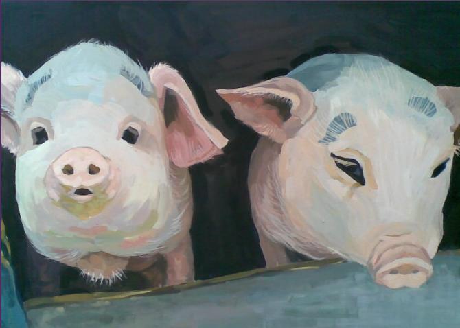 猪弟一性交_两只小猪(第一次上传,照片翻画,几年前的作品了,凑合着看看)