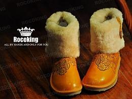 橙色手工皮雕靴子 