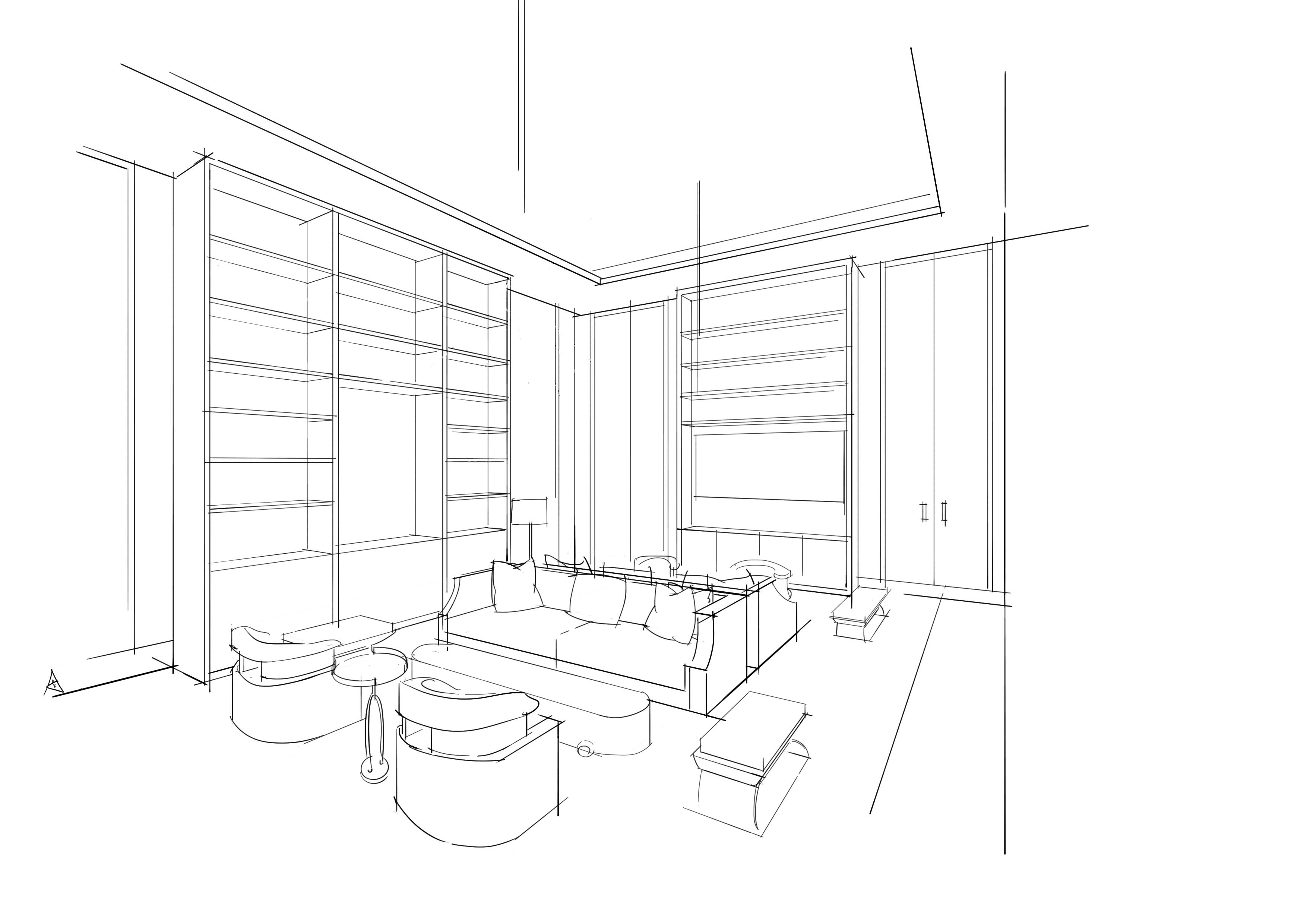 空间线稿(手绘) 空间 室内设计 a32号 - 原创作品