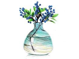 【驴大萌彩铅教程143】手绘插花 金沙瓶玻璃瓶鲜花