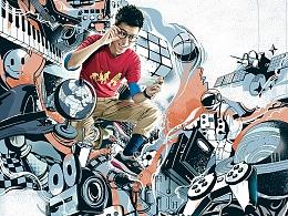 中兴&INTEL Geek手机系列主视觉插画2013(作品回顾)