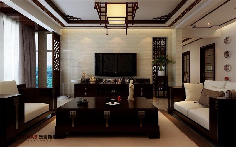 小区名称:弘石湾面积:140户型:三室两厅风格:新中式设计说明:本案是新中式的装修效果图,新中式风格非常讲究空间的层次感,在需要隔绝视线的地方,则使用中式的屏风或窗棂、中式木门、工艺隔断、简约化的中式博古架,通过这种新的分隔方式,单元式住宅就展现出中式家居的层次之美。