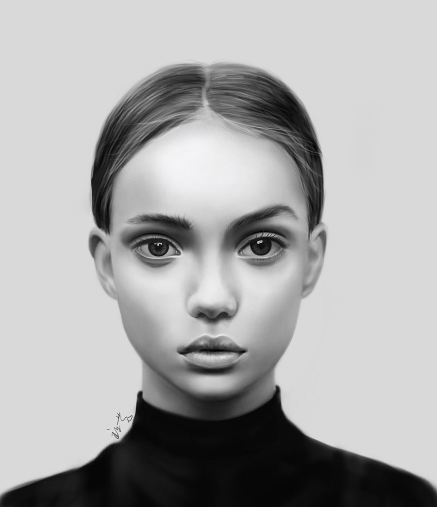 原创作品:欧美女人手绘一枚