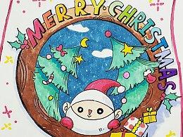 【手绘】圣诞节明信片(内含过程视频)