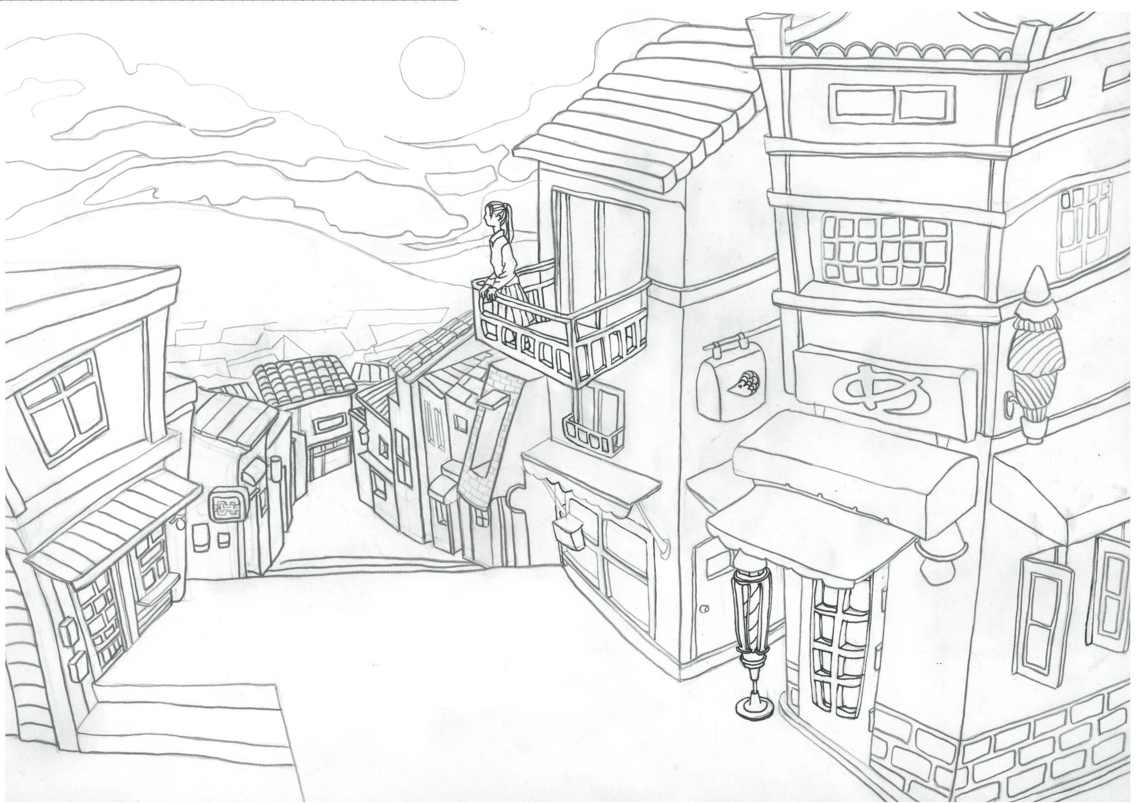 手绘稿房屋街道夜景