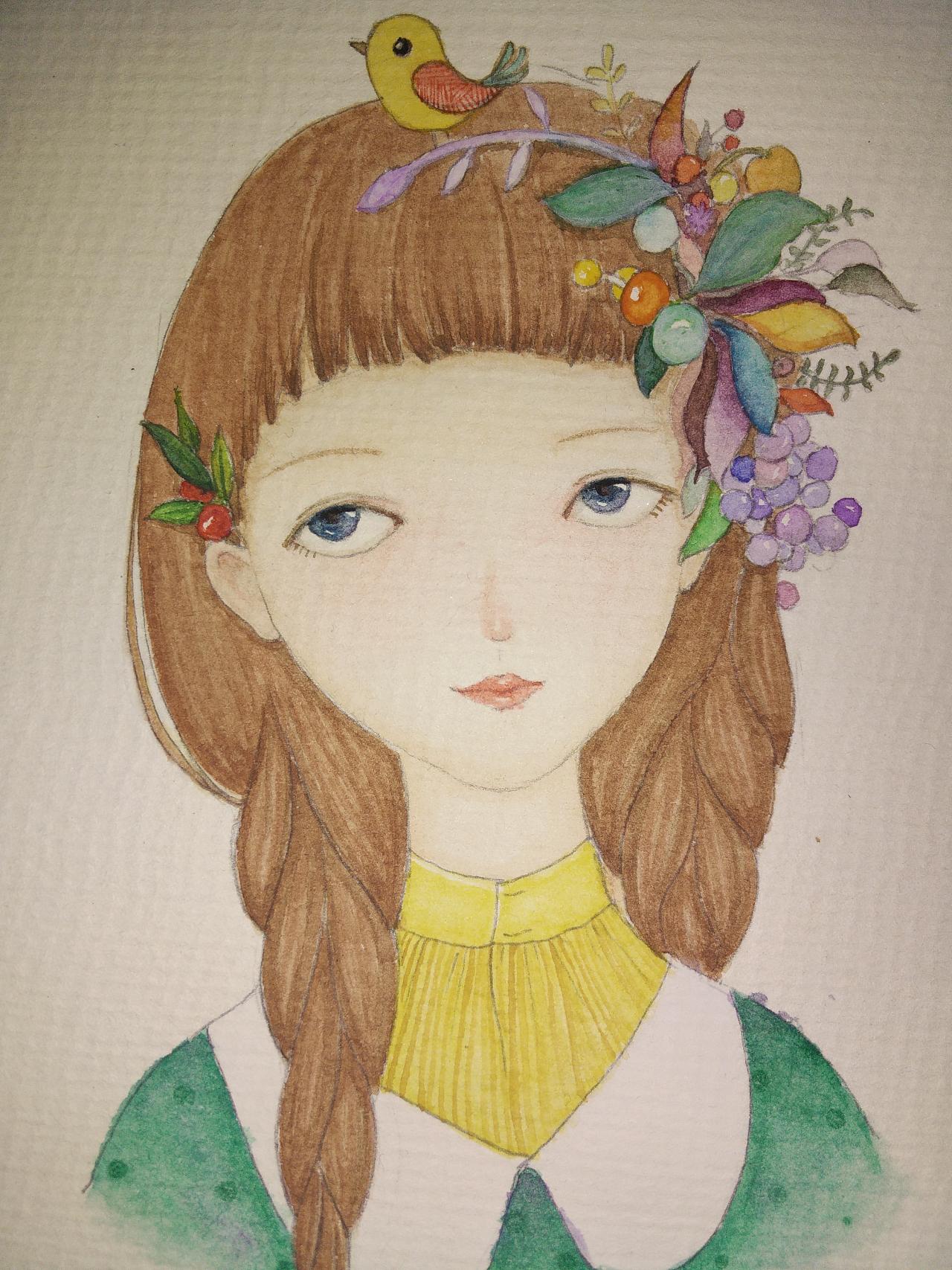彩铅手绘-有一位姑娘