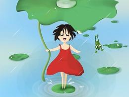 关于天气的一组原创插画