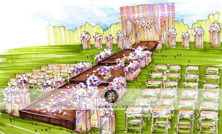 【婚礼手绘】纸面手绘—户外效果图