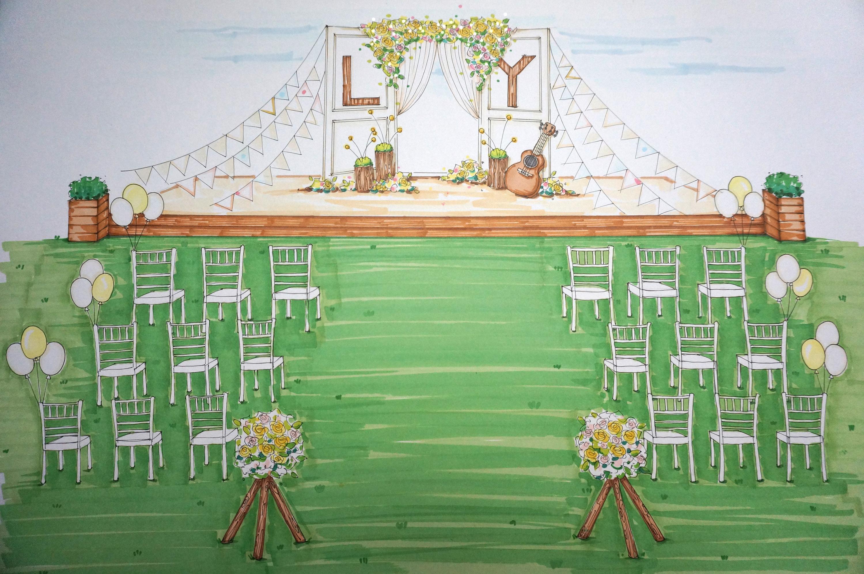 草坪婚礼手绘小清新版