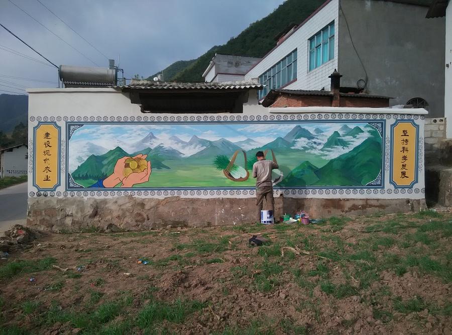 昆明墙体彩绘昆明墙画手绘公司昆明新农村建设彩绘文化墙壁画彩绘—