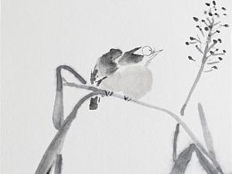 纸本水墨-花鸟作品