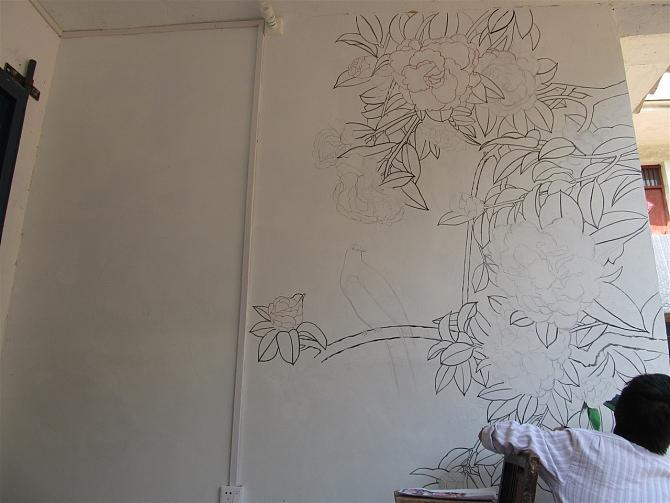 洛阳依米乐绘馆手绘墙案例#花开富贵 |其他|墙绘/画