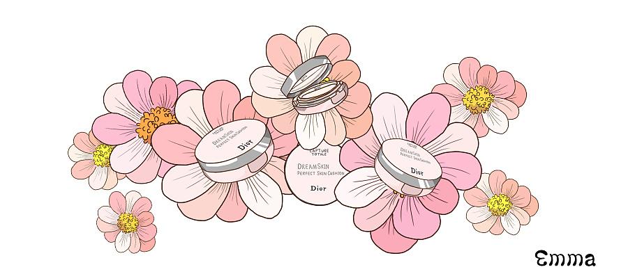 dior雪晶灵光感气垫手绘插图
