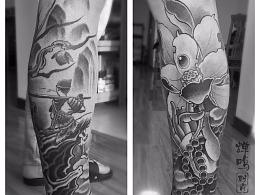 两个传统风格纹身