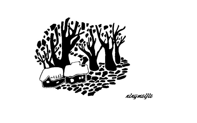 黑白装饰画--房屋2|绘画习作|插画|im小七