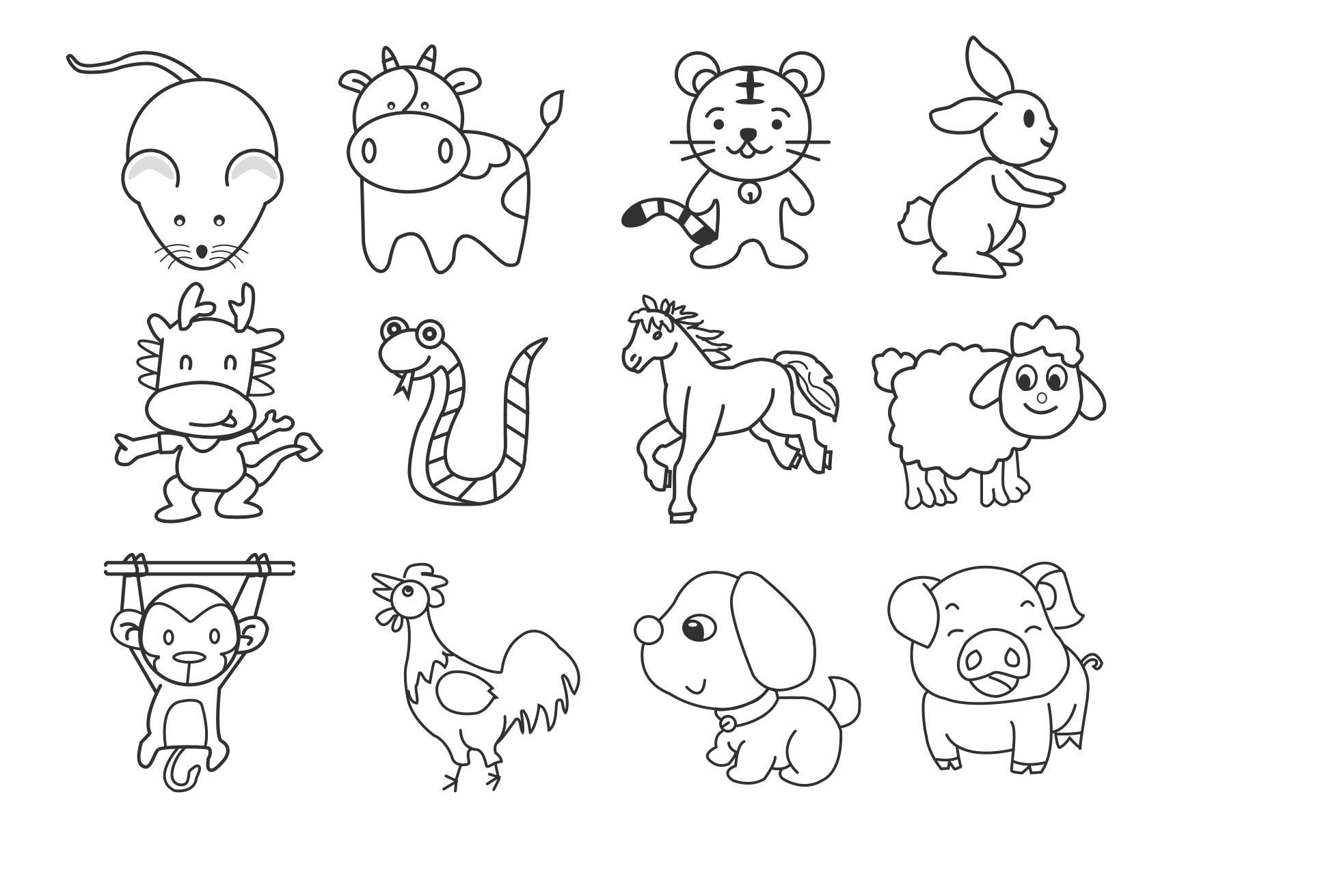 十二生肖里最简单画的是哪些?图片