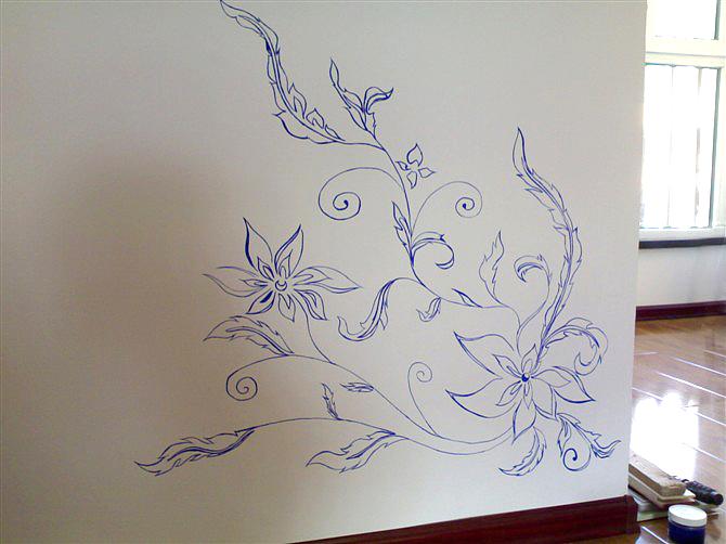 手绘青花-墙壁画