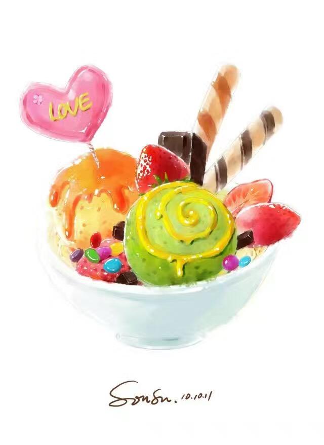 甜品手绘背景图竖