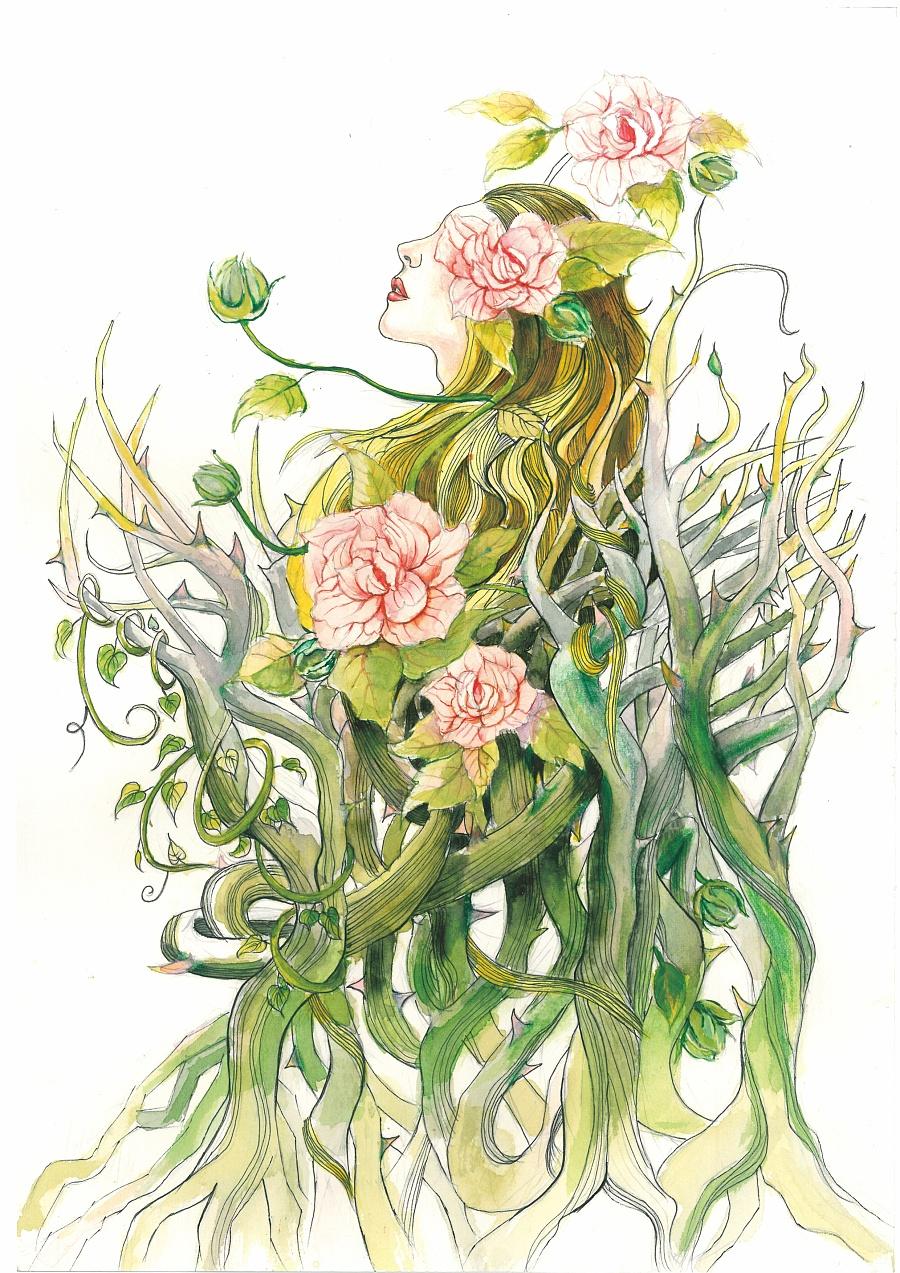 文艺手绘花朵插画