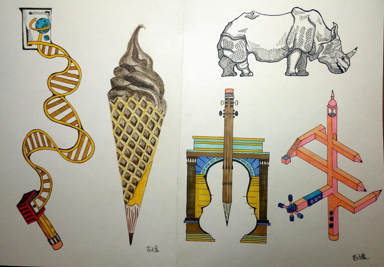 【原创】图形创意-铅笔同构图片