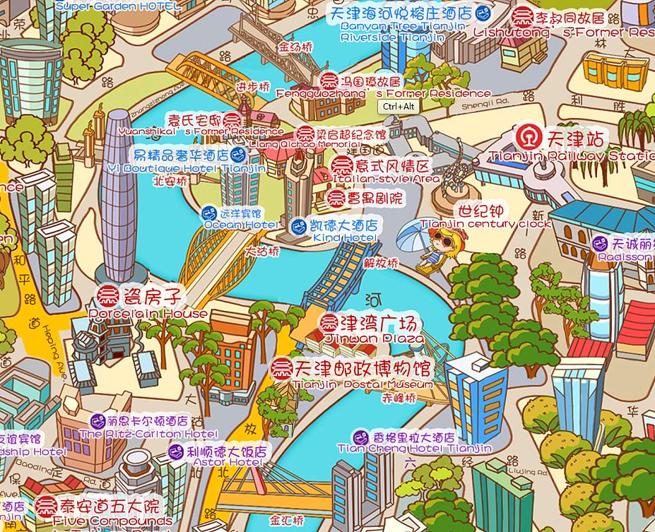 天津旅游手绘地图