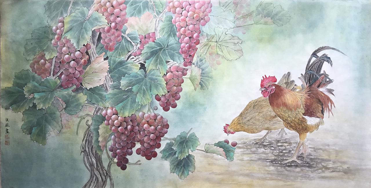 汪林工笔画葡萄鸡