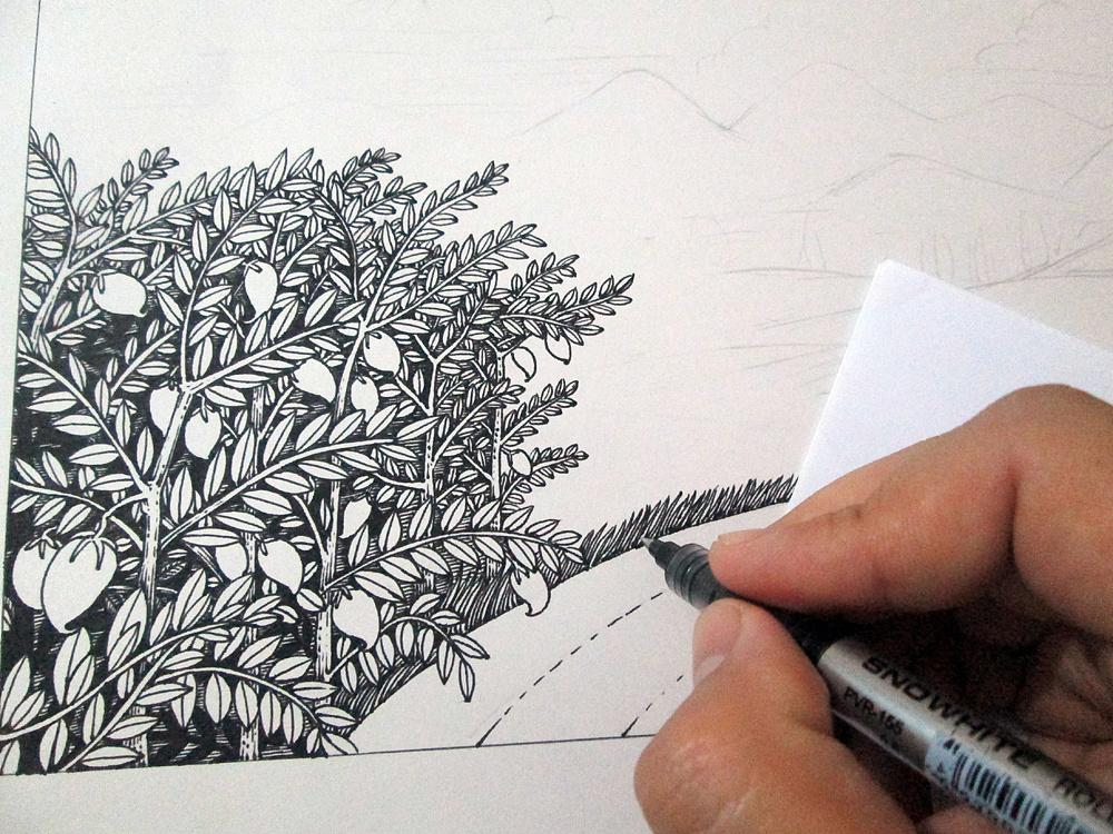 《田园风光》手绘过程
