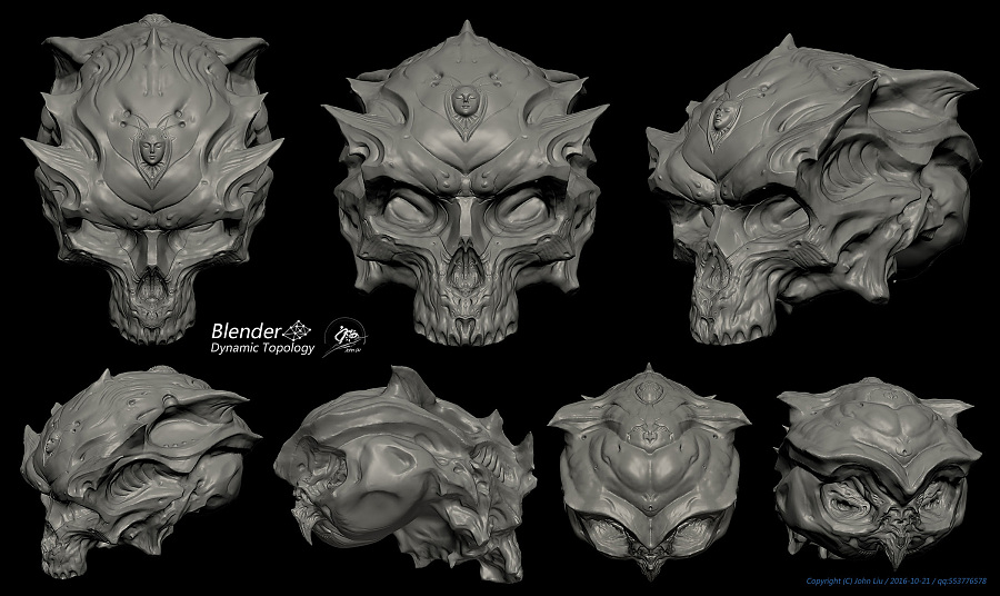 查看《Blender动态雕刻极限测试作品-双生头骨》原图,原图尺寸:2100x1251
