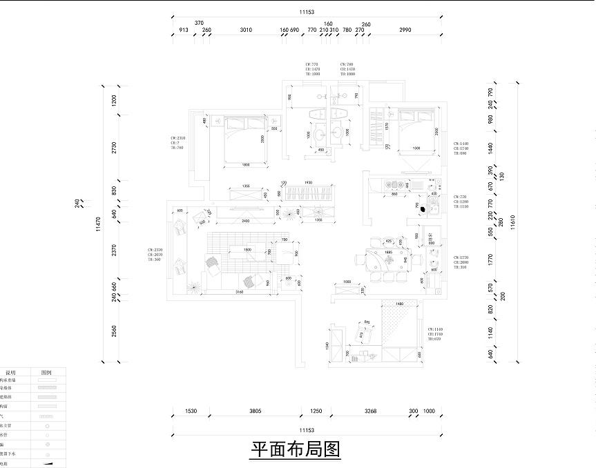 123-三室两厅-简美-金舍装饰|室内设计|平面200平米空间别墅设计图免费图片
