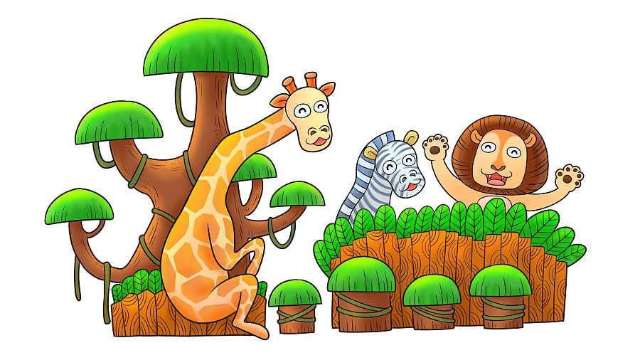 丛林小动物彩铅手绘和数码板手绘|绘本|动漫|ylang