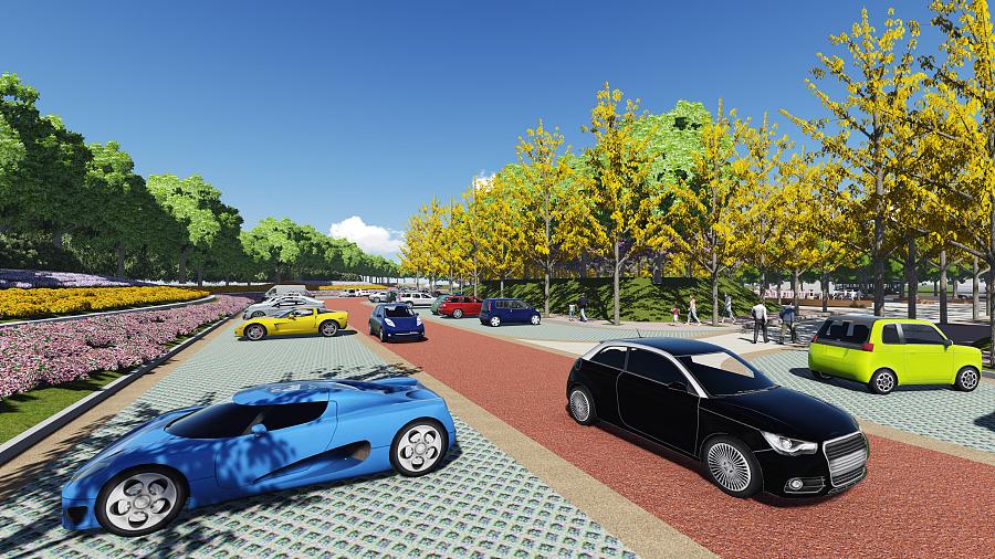 社区公园与生态停车场相结合图片