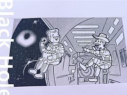 刊载文章配图《发现黑洞》美式科普简笔插画