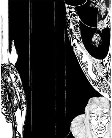 传统手绘黑白插图.向比亚茨莱致敬||插画|一束刀