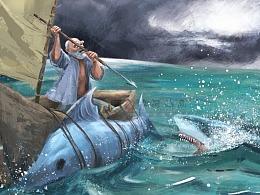 名著彩插绘本老人与海中小学必读快乐读书吧插画