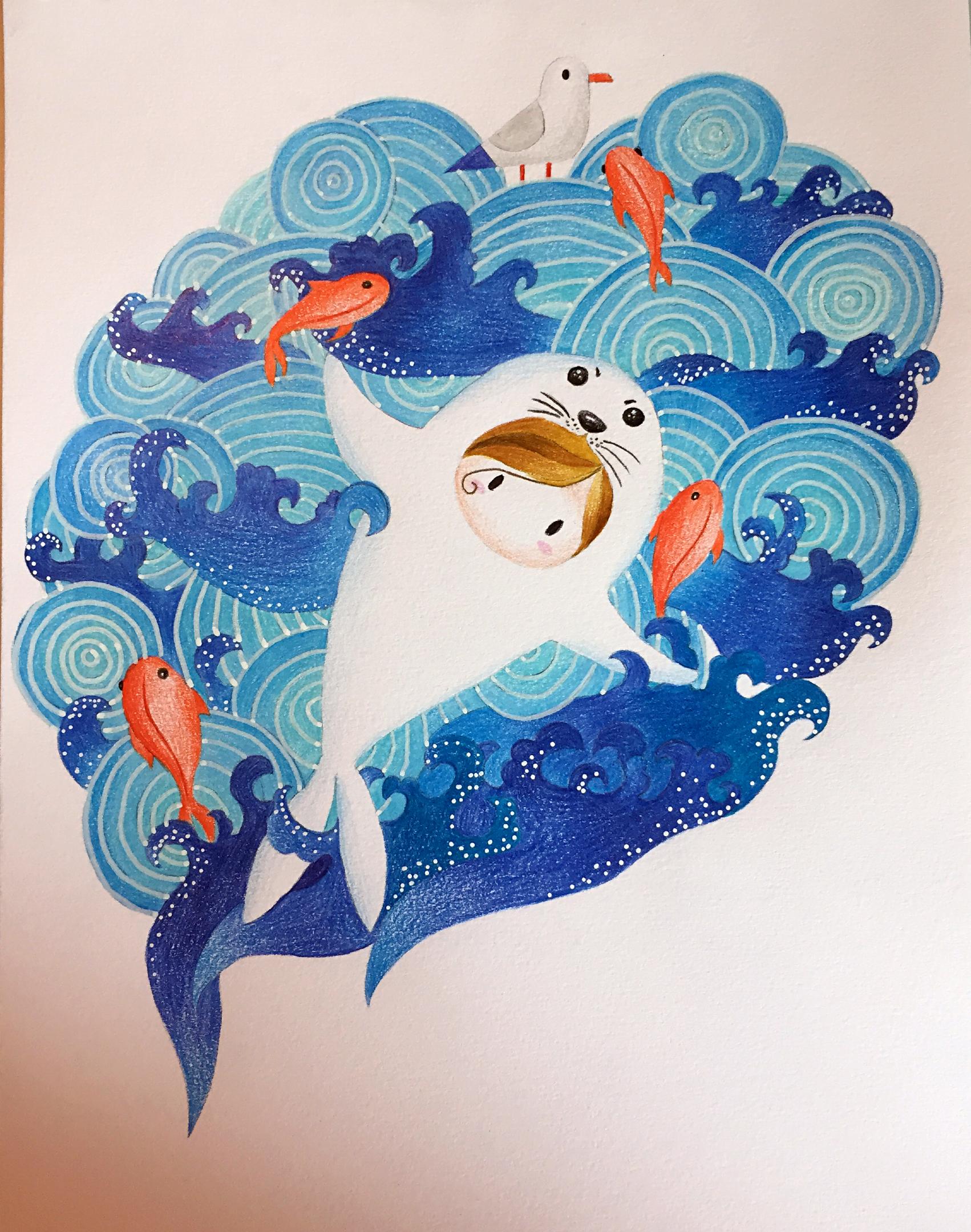 手绘彩铅画《冲浪里的小海豹》