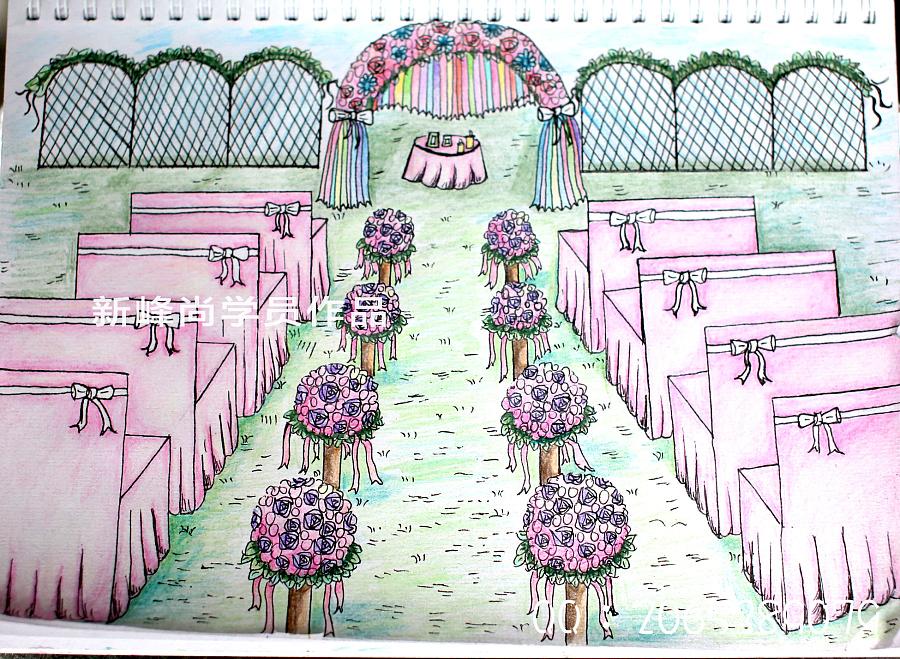婚礼手绘效果图 零基础婚礼手绘|舞台美术|空间/建筑