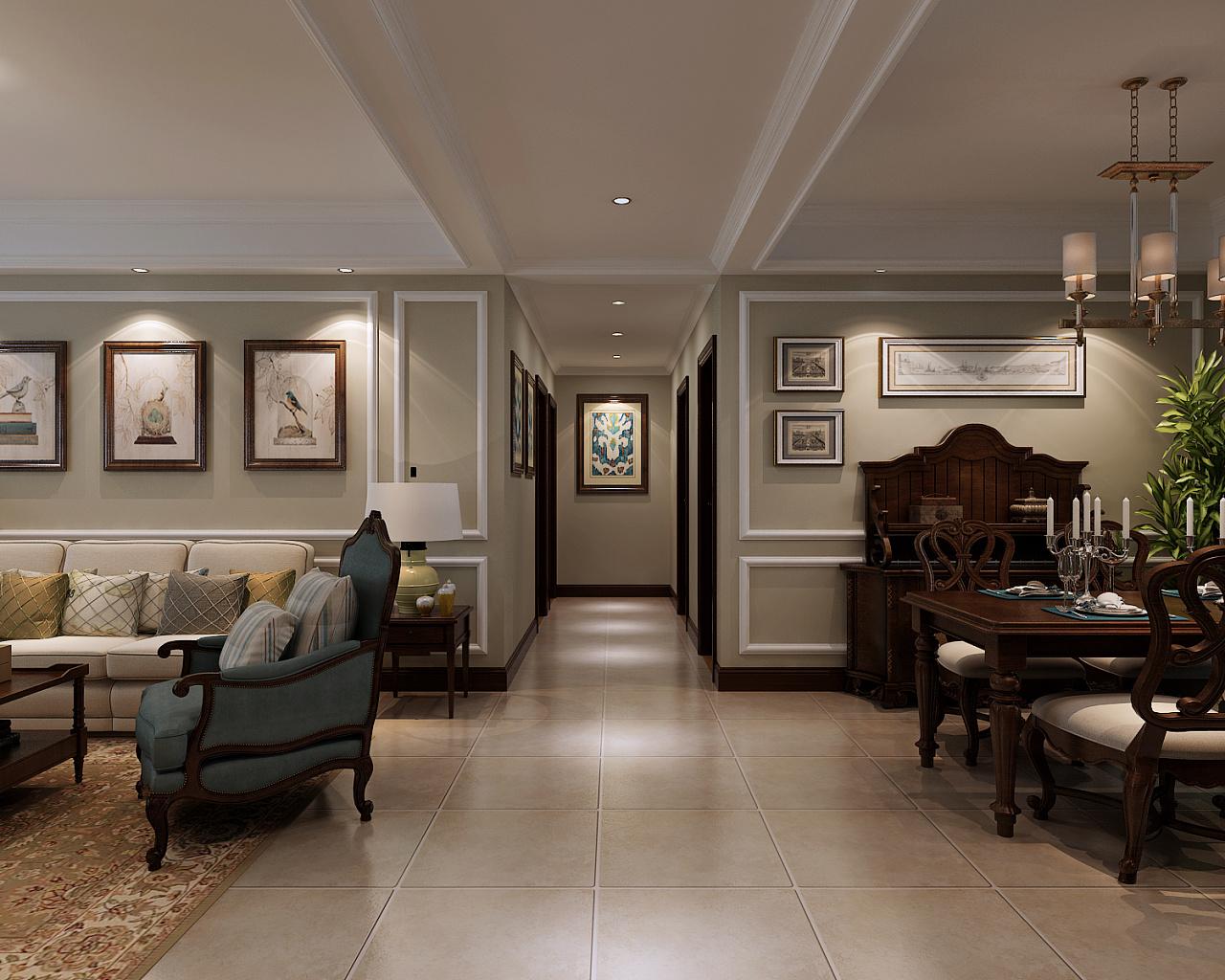 金舍装饰-保利花园134平米装修效果图-美式风格-三居室装修