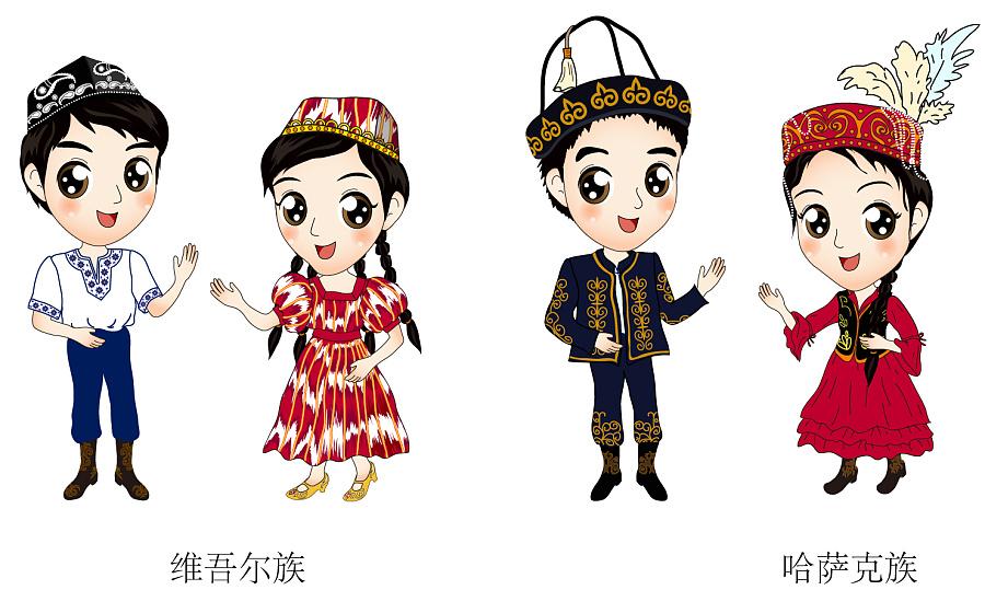 哈萨克民族简笔画-维吾尔族 哈萨克族人物 站酷 ZCOOL 移动版