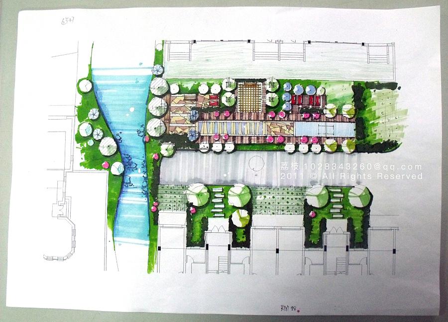 大学时的景观设计/马克笔手绘/方案排版/构图/细节图片