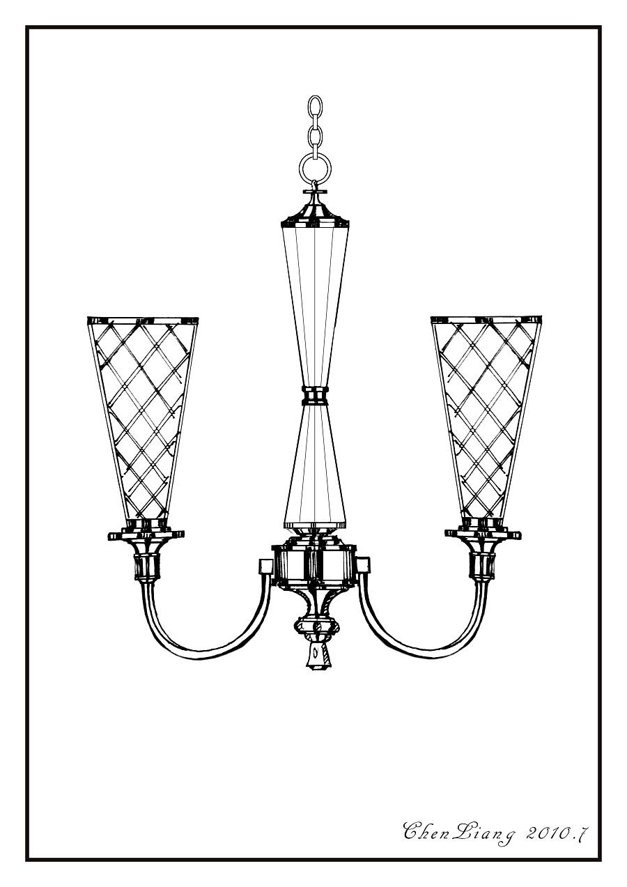 古典灯具手绘线稿